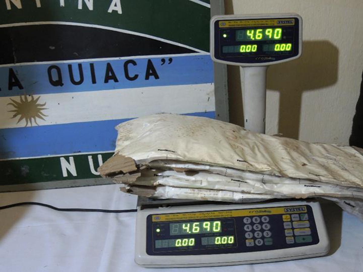 Cocaína incautada en Jujuy
