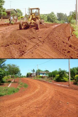 Agentes de Mantenimientos y Servicios de la Secretaria de Obras Públicas de la Municipalidad de Eldorado realizan trabajos de perfilado y cuneteo.