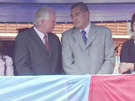 Pablo Tschirschs y Norberto Aguirre en época de inauguraciones en Eldorado.