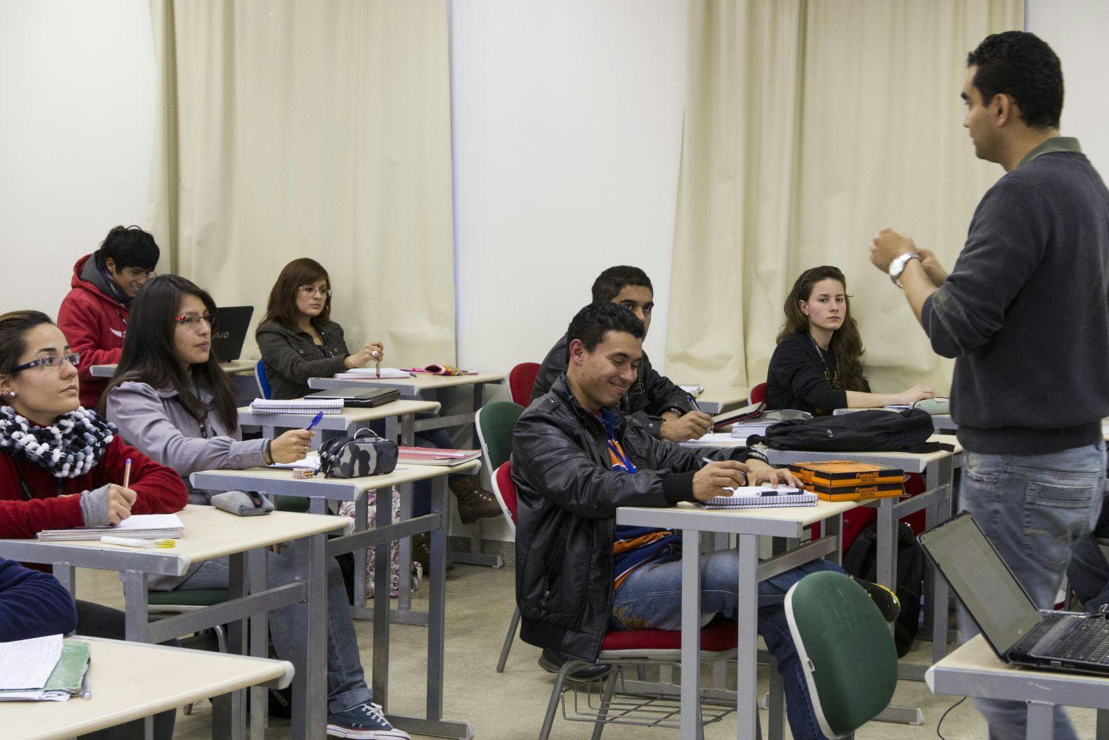 Un aula de la UnILa donde cursan estudiantes de Latinoamérica.