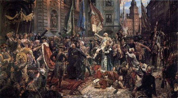 Constitución polaca, el Rey Stanisaw August  ingresando a la Catedral de San Juan, Varsovia.