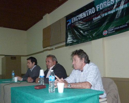 El diputado provincial Gustavo González, el presidente de la UCR Misiones Hernán Damiani, y el consultor Jorge Fhaler