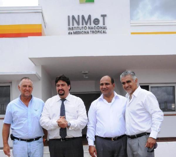 El ministro Guccione, el gobernador Closs, el ministro Manzur y Timoteo Llera.