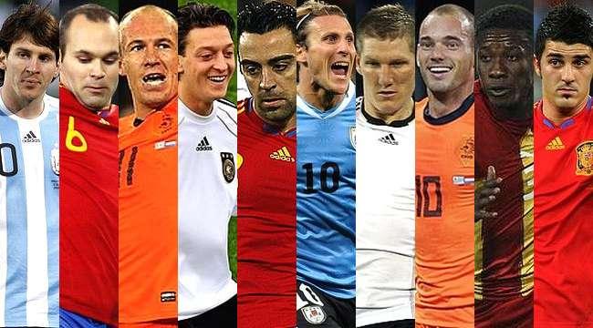 Messi, Iniesta, Robben, Ozil, Xavi, Forlán, Schweinsteiger, Sneijder, Gyan y Villa. Foto:El Litoral / EFE