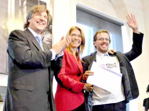 Apoyo. Pablo Edelman recibió el crédito de Amado Boudou y Débora Giorgi.