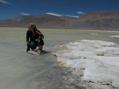 La doctora María Eugenia Farías en la laguna Socompa en la Puna argentina.