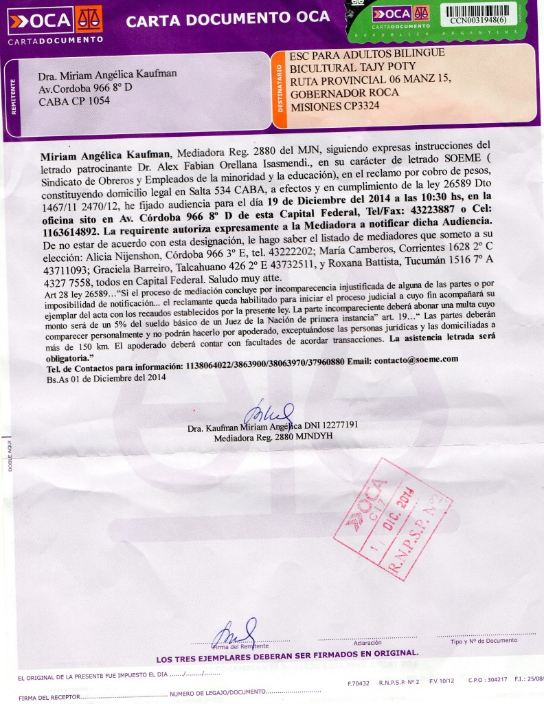 Carta Documento enviada por soeme a TAJY POTY
