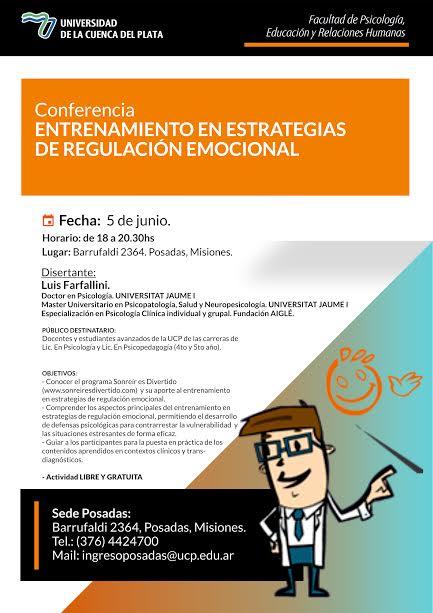 El doctor en Psicología Luis Farfallini disertará en la Universidad de la Cuenca del Plata, sede Posadas