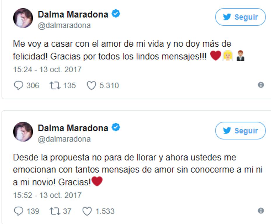Diego Maradona anunció en Instagram el casamiento de su hija mayor, Dalma