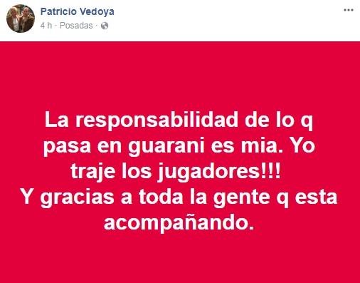 Crisis en Guaraní: Vedoya se responsabilizó por el mal momento y agradeció a los que apoyan