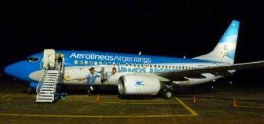 El avión que llevará a la selección al mundial estuvo hoy en el aeropuerto de Posadas
