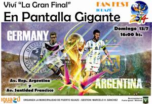 Iguazú y Eldorado verán la final del mundial en pantalla gigante