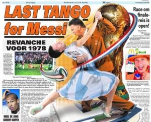 """La tapa de un diario holandés: """"El último tango para Messi"""""""