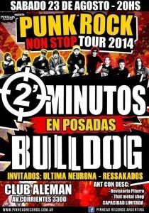 El Punk Rock vuelve a Posadas de la mano de Dos Minutos y Bulldog