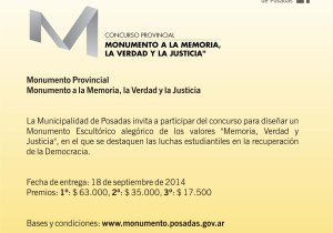 El 18 de septiembre se deben presentar los diseños para el Monumento a la Memoria, Verdad y Justicia
