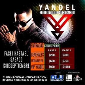 Yandel estará en Encarnación el 20 de Septiembre. Conseguí tu entrada con descuento