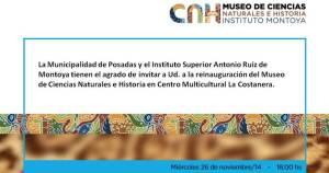 Se reinaugurará el Museo de Ciencias Naturales e Historia del Montoya