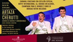 Gran cena show de Año Nuevo en el Amerian, con la animación de Cherutti y Artaza