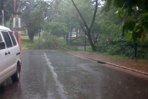 Hoy el temporal se descargó sobre Puerto Iguazú