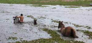 Un equipo de aviación del Ejército rescató a personas aisladas por la inundación en un paraje de Goya