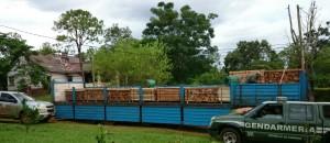 En Garuhapé retuvieron a camión con madera nativa aserrada sin guía