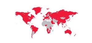 El mapa muestra, en rojo, a los países que en 2013 ya contaban con la cobertura 4G. Foto: GSMA Intelligence.