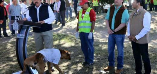 Un perro orinó al alcalde de Guadalajara en pleno acto