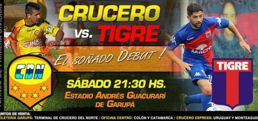 Crucero debutará ante Tigre en Primera el sábado a las 21:30