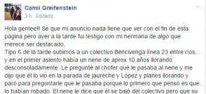 Posadas: en Facebook destacan la acción de un colectivero, que ayudó a un nene a encontrar a su hermanita