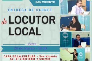AFSCA entregará carnets a locutores locales este viernes en San Vicente