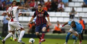 El Barcelona de Messi humilló al Rayo con tres tantos de la Pulga y es líder de la Liga española