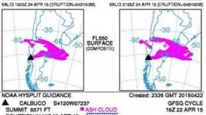Así avanza la nube de cenizas del Calbuco que en 48 horas podría llegar a Buenos Aires
