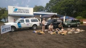 Prefectura detuvo a dos personas y secuestró alrededor de 300 kilos de marihuana