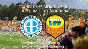 Crucero visitará a Belgrano el sábado a las 21 en el Mario Kempes con arbitraje de Fernando Espinoza