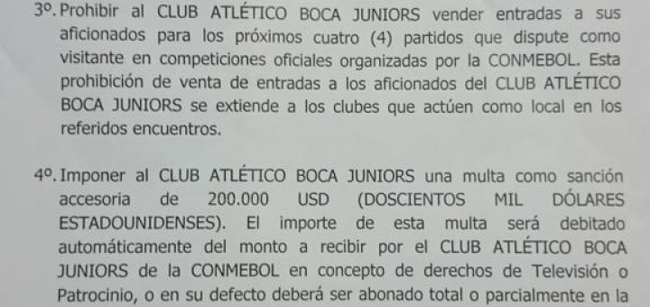 Vergüenza II: la Conmebol eliminó a Boca de la Copa Libertadores pero le aplicó leves sanciones