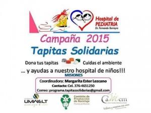 No tires las tapitas, llevalas al Rotaract que entregarán al Hospital de Pediatría para compra de insumos