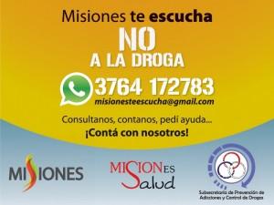 """Con """"Misiones te Escucha, No a las drogas"""" se cuenta con herramientas de comunicación para abordar la problemática de las adicciones"""