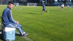 Zabaleta y Biglia trabajaron con el grupo en la primera práctica en suelo chileno