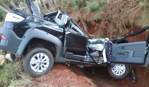 Dos de Mayo: Auto terminó contra un barranco tras ser chocado por una camioneta
