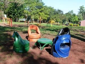 Wanda: En la Plaza Saludable lucen asientos ecológicos construidos por un vecino