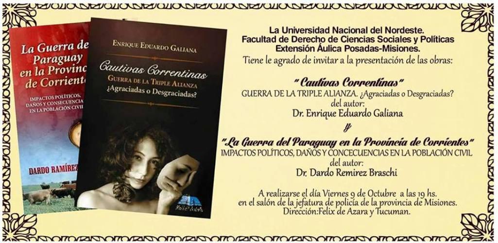 Presentarán hoy el libro «Cautivas correntinas, guerra de la triple alianza»
