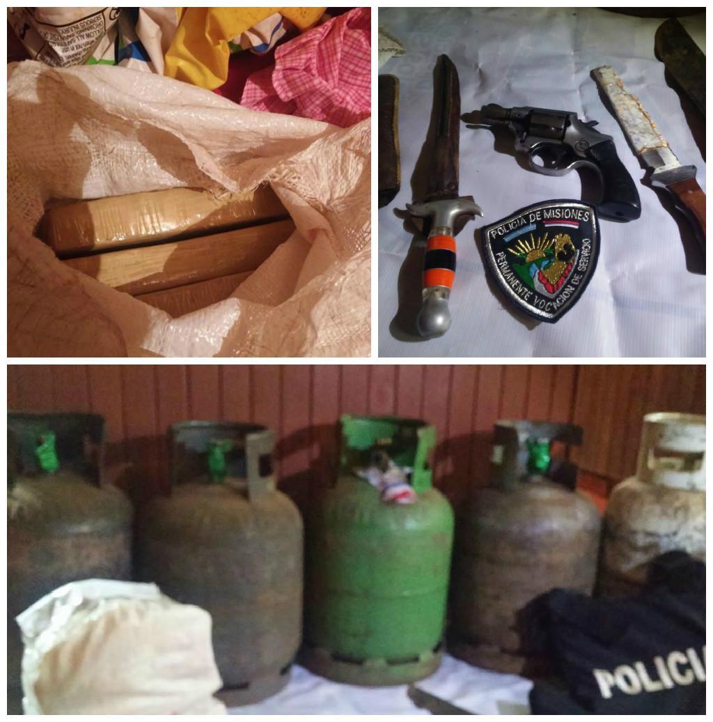 Secuestraron un arma de fuego, machetes, droga y elementos robados en allanamientos en Jardín América