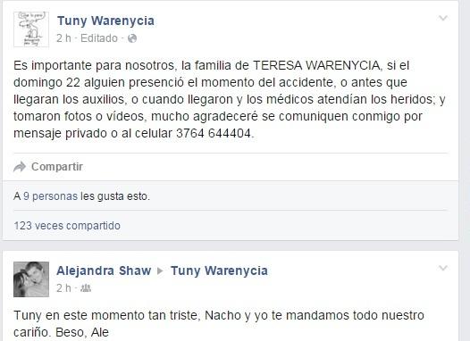 La familia de Teresa Warenycia pide testigos del accidente que ayuden con información