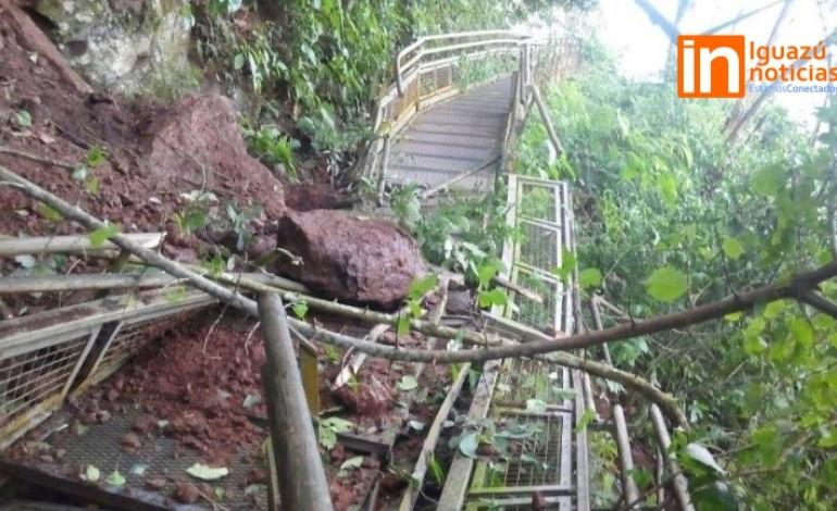 Un derrumbe de piedras dejó inhabilitado un tramo del Circuito Inferior de Cataratas