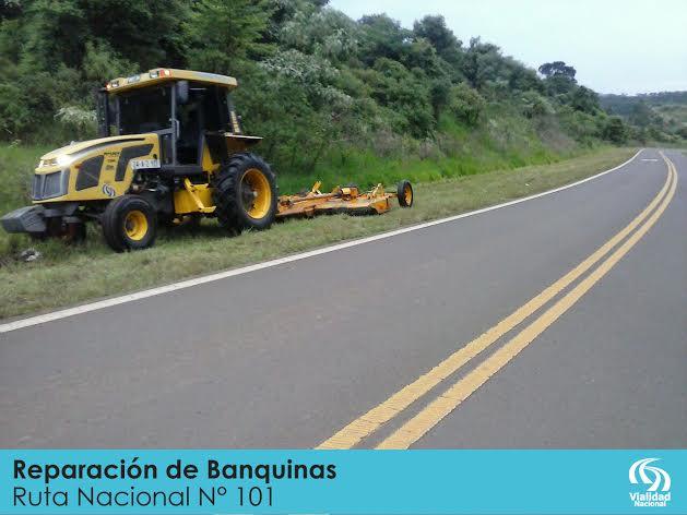Vialidad Nacional realiza trabajos en banquinas terradas de la RN N° 101