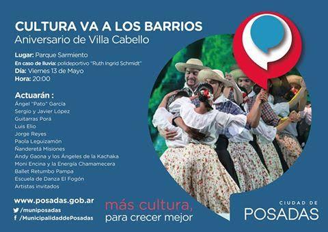 Con música y danza, se celebrará el aniversario Nº 43 de Villa Cabello