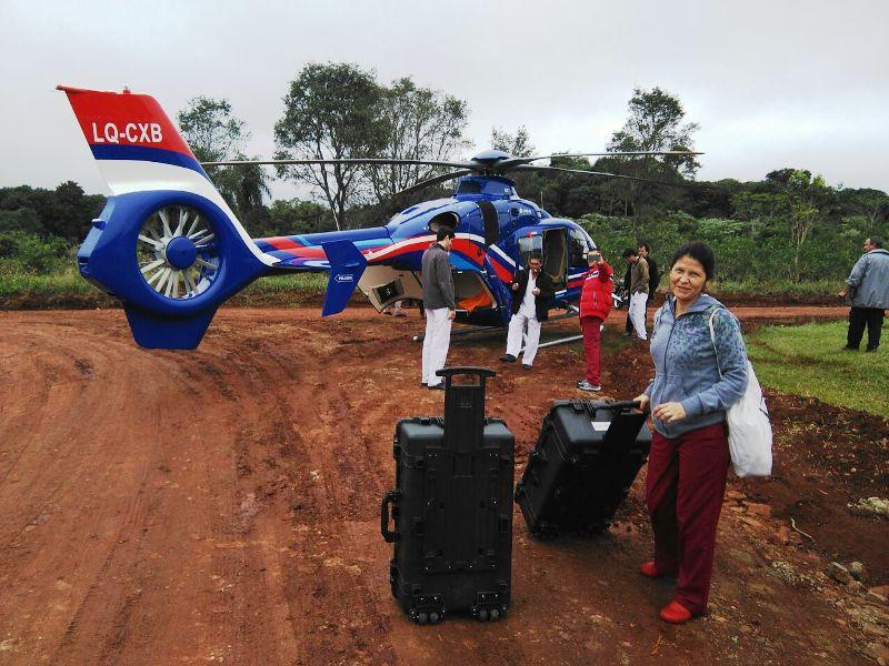 Con el helicóptero de la provincia realizaron un operativo para una ablación múltiple