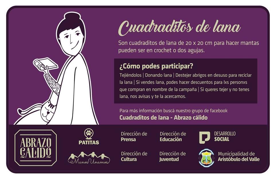 Aristóbulo del Valle organiza una campaña solidaria para hacerle frente al frío