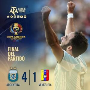 Argentina goleó a Venezuela 4-1 y está en semifinales de la Copa América