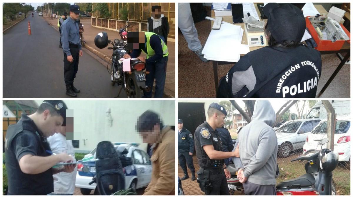 Megaoperativo policial: más de 20 detenidos, entre ellos seis con droga y uno con pedido de captura
